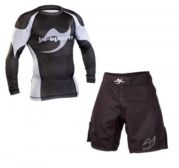 No-Gi Set: Rash Guard langarm + Fightshort