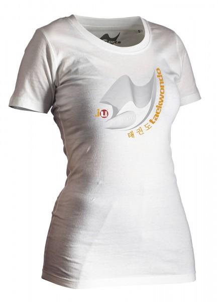 Taekwondo-Shirt Moiré weiß Lady