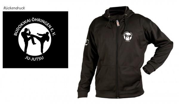 Softshell-Jacke schwarz mit Kapuze Budokwai Öhringen Vereinsedition
