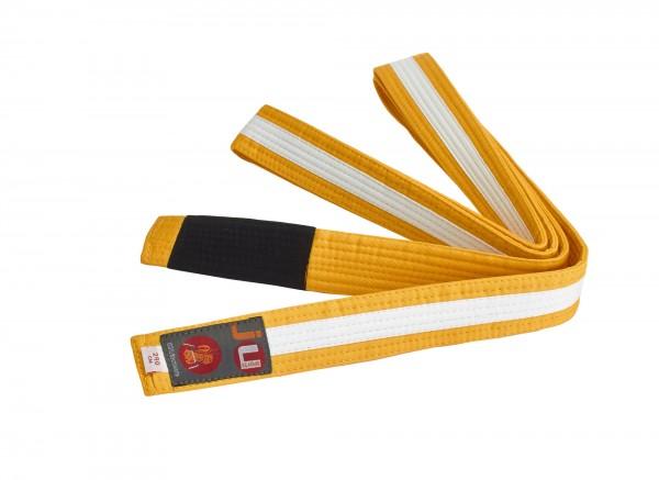 Bjj Kindergürtel gelb mit weißem Streifen