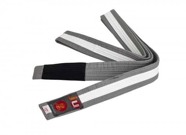 Bjj Kindergürtel grau mit weißem Streifen