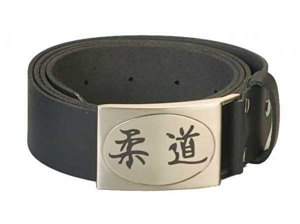 Gürtel echt Leder mit graviertem Kanji Judo
