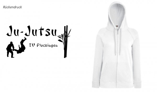 Ladies Lightweight Hooded Sweat Jacket, F408, TV Plochingen Ju-Jutsu weiß