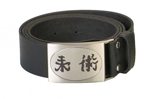 Gürtel echt Leder mit graviertem Kanji Ju-Jutsu