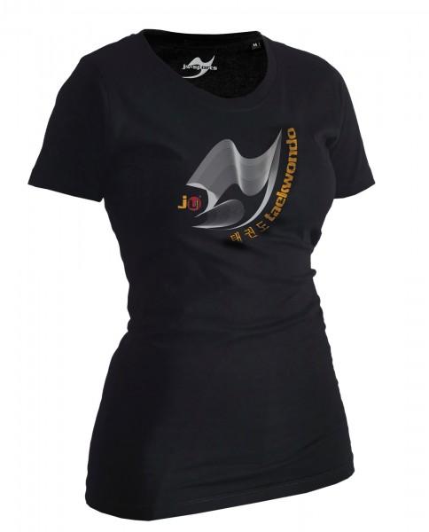 Taekwondo-Shirt Moiré schwarz Lady