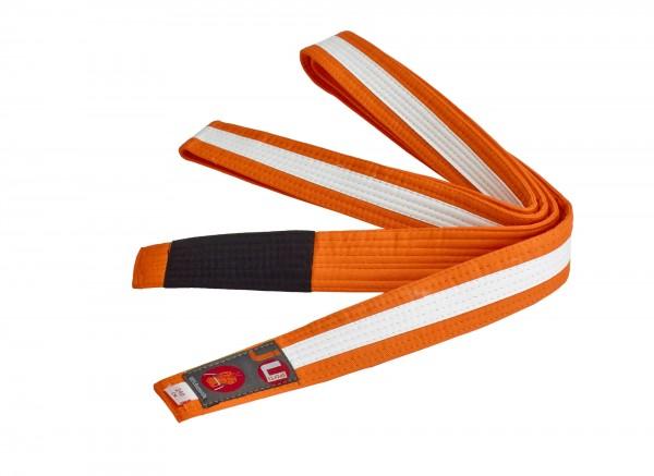 Bjj Kindergürtel orange mit weißem Streifen