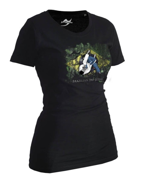 BJJ-Shirt Ground Warrior schwarz Lady