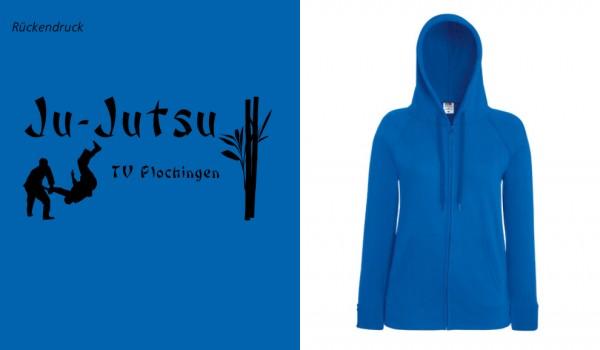 Ladies Lightweight Hooded Sweat Jacket, F408, TV Plochingen Ju-Jutsu blau