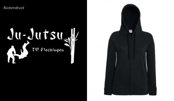 Ladies Lightweight Hooded Sweat Jacket, F408, TV Plochingen Ju-Jutsu schwarz