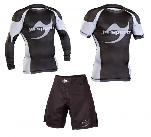 No-Gi Superset: Rash Guard langarm + Rashguard kurzarm + Fightshort